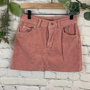 F21 light Pink corduroy mini skirt with pockets